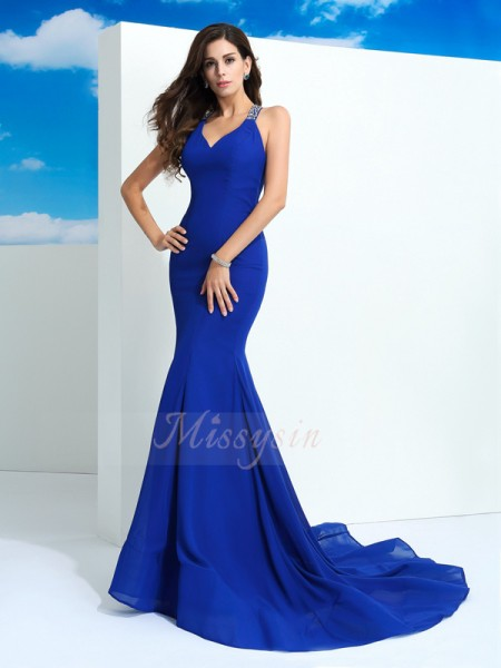 Sheath/Column Sleeveless Straps Beading Court Train Chiffon Dresses
