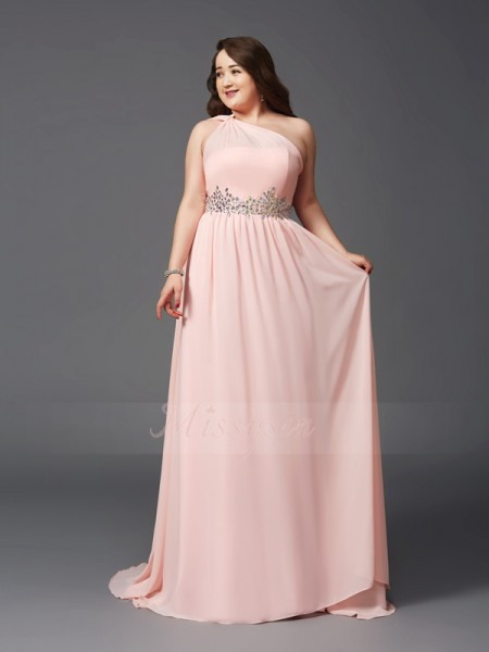 A-Line/Princess Sleeveless One-Shoulder Rhinestone Sweep/Brush Train Chiffon Dresses Plus Size