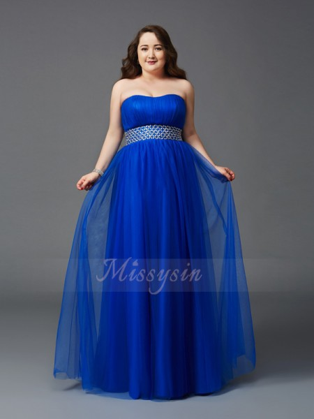 A-Line/Princess Sleeveless Strapless Rhinestone Floor-Length Net Plus Size Dresses