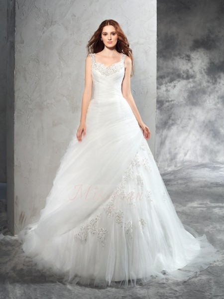 Ball Gown Sleeveless Straps Applique Court Train Net Wedding Dresses