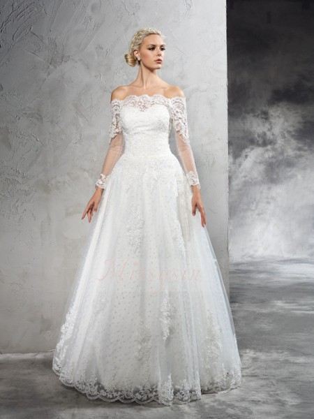 Ball Gown Long Sleeves Off-the-Shoulder Floor-Length Net Wedding Dresses