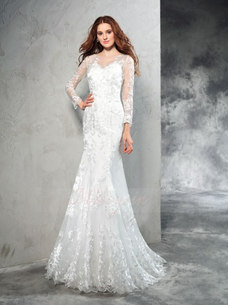 Sheath/Column Long Sleeves Sheer Neck Sweep/Brush Train Net Wedding Dresses