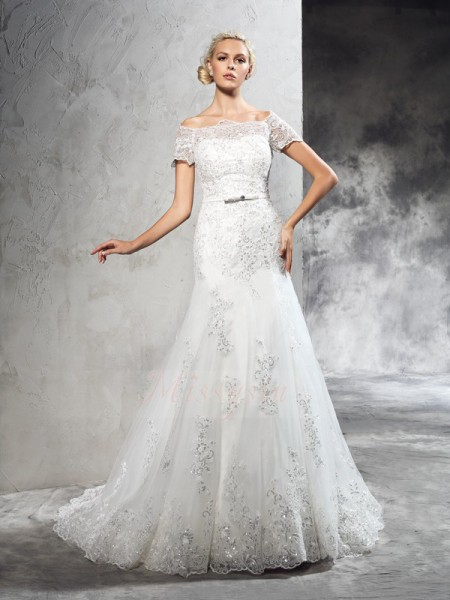 Sheath/Column Short Sleeves Off-the-Shoulder Applique Court Train Net Wedding Dresses