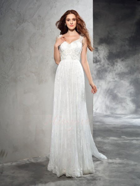 A-Line/Princess Sleeveless Straps Court Train Lace Wedding Dresses