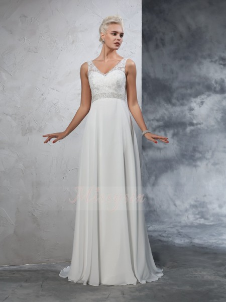 A-Line/Princess Sleeveless V-neck Beading Court Train Chiffon Wedding Dresses