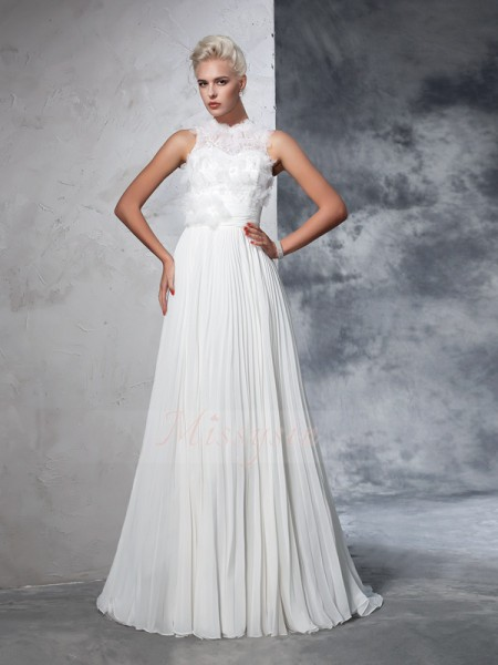 A-Line/Princess Sleeveless High Neck Pleats Court Train Chiffon Wedding Dresses