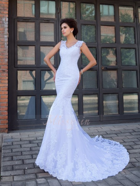 Trumpet/Mermaid Sleeveless V-neck Applique Chapel Train Satin Wedding Dresses
