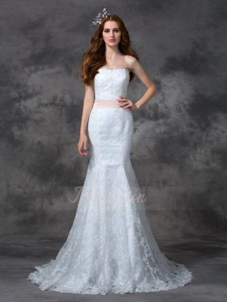 Trumpet/Mermaid Sleeveless Strapless Sash/Ribbon/Belt Court Train Lace Wedding Dresses