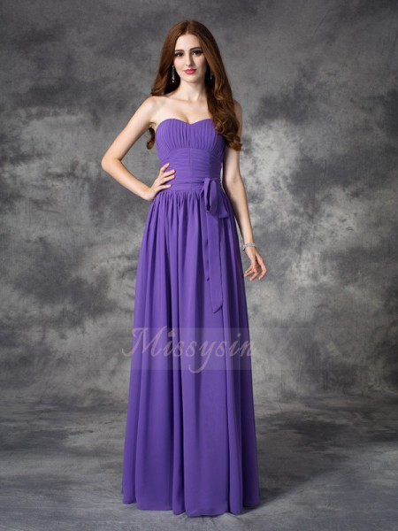 A-line/Princess Sleeveless Sweetheart Ruffles Floor-length Chiffon Bridesmaid Dresses