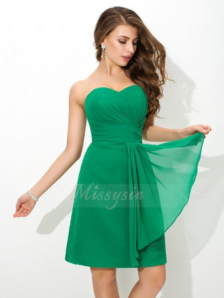 Sheath/Column Sleeveless Sweetheart Pleats Short/Mini Chiffon Bridesmaid Dresses