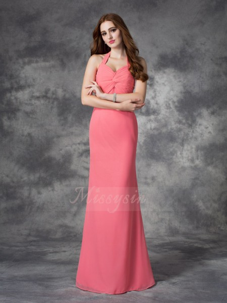 Sheath/Column Sleeveless Halter Ruched Floor-length Chiffon Bridesmaid Dresses