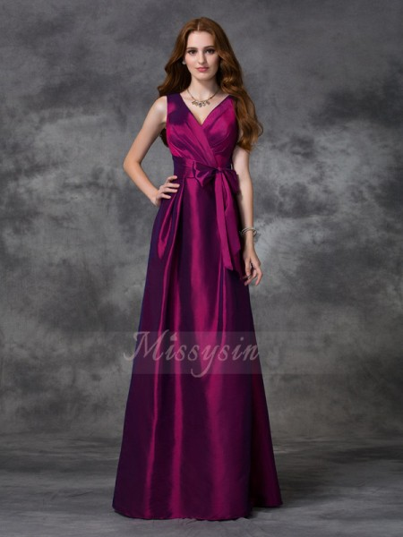 A-line/Princess Sleeveless V-neck Sash/Ribbon/Belt Floor-length Taffeta Bridesmaid Dresses