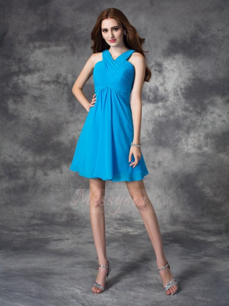 A-line/Princess Sleeveless V-neck Ruffles Short/Mini Silk like Satin Cocktail Dresses