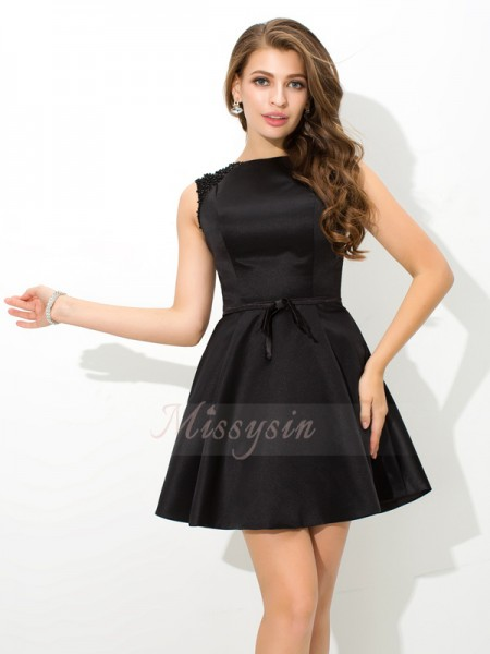 A-Line/Princess Sleeveless High Neck Sash/Ribbon/Belt Short/Mini Satin Cocktail Dresses