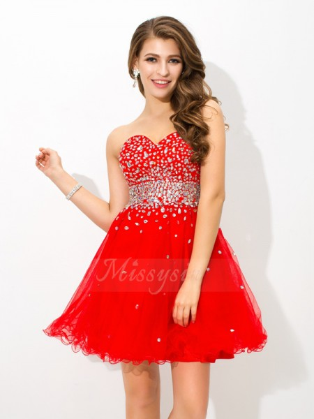 A-Line/Princess Sleeveless Sweetheart Beading Short/Mini Organza Cocktail Dresses
