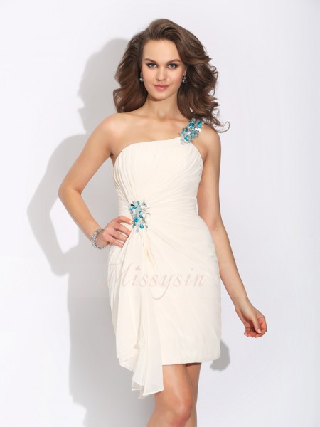 Sheath/Column Sleeveless One-Shoulder Beading Short/Mini Chiffon Cocktail Dresses