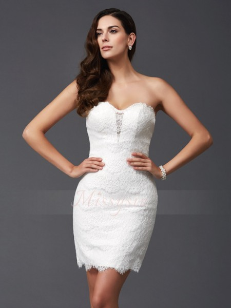 Sheath/Column Sleeveless Sweetheart Short/Mini Lace Cocktail dresses