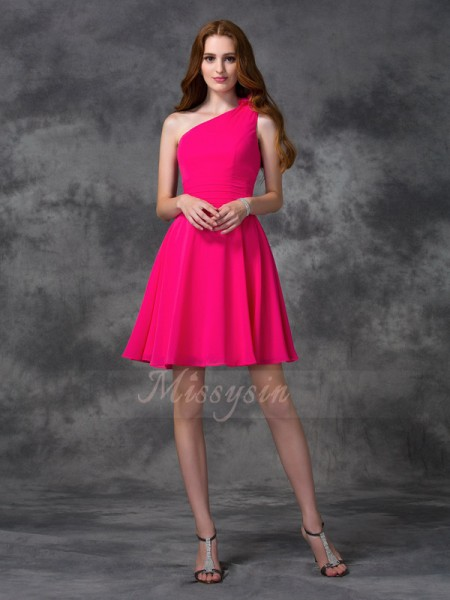 A-line/Princess Sleeveless One-Shoulder Hand-Made Flower Short/Mini Chiffon Cocktail Dresses
