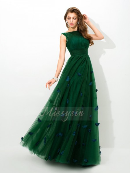 A-Line/Princess Sleeveless Sheer Neck Beading Floor-Length Net Dresses