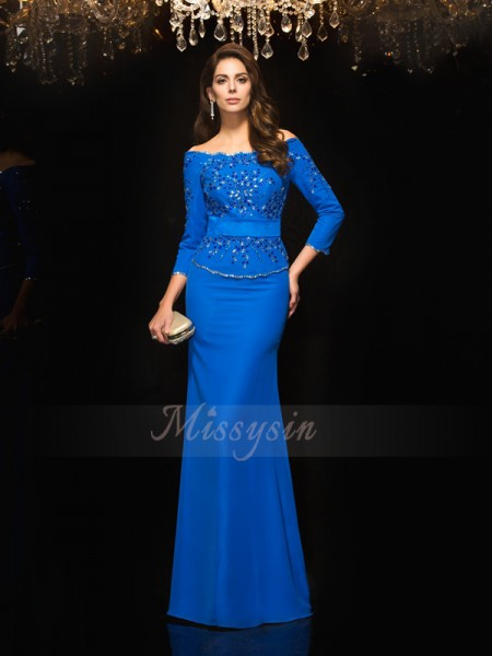Sheath/Column 3/4 Sleeves Off-the-Shoulder Beading Floor-Length Chiffon Dresses
