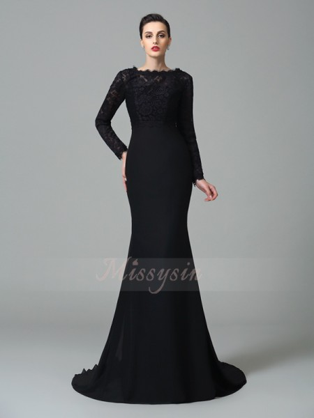 Trumpet/Mermaid Sleeveless Square Court Train Chiffon Dresses