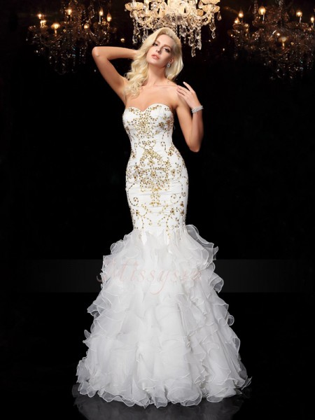 Trumpet/Mermaid Sleeveless Sweetheart Beading Floor-Length Organza Dresses