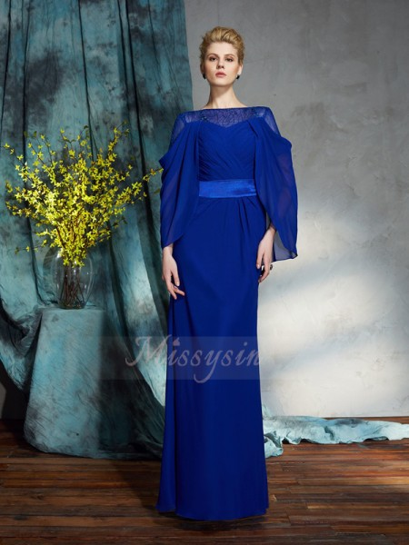 Sheath/Column Long Sleeves Bateau Other Floor-Length Chiffon Dresses