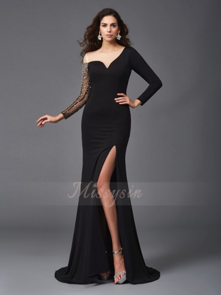 Sheath/Column 3/4 Sleeves Scoop Beading Sweep/Brush Train Spandex Dresses