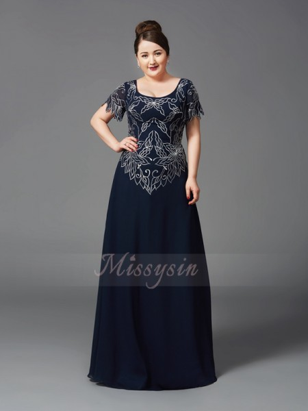 A-Line/Princess Short Sleeves Square Other Floor-Length Chiffon Mother of the Bride Dresses