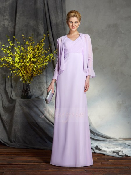 Sheath/Column Sleeveless V-neck Applique Floor-Length Chiffon Mother of the Bride Dresses