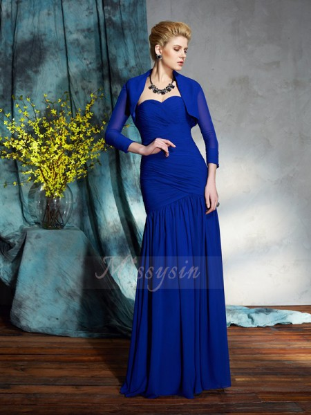Sheath/Column Sleeveless Sweetheart Pleats Floor-Length Chiffon Mother of the Bride Dresses