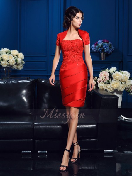 Sheath/Column Sleeveless Sweetheart Beading Short/Mini Satin Mother of the Bride Dresses