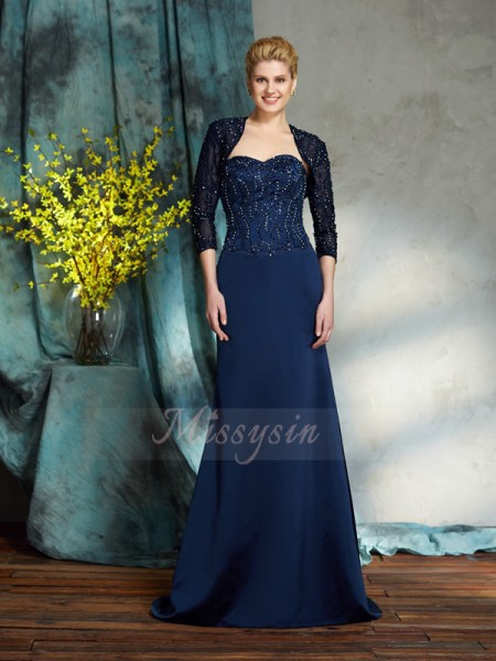 Sheath/Column Sleeveless Sweetheart Sequin Floor-Length Satin Mother of the Bride Dresses