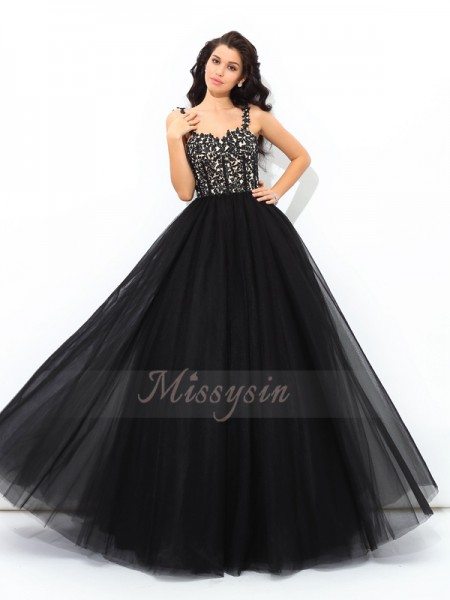 Ball Gown Sleeveless Straps Applique Floor-Length Net Quinceanera Dresses