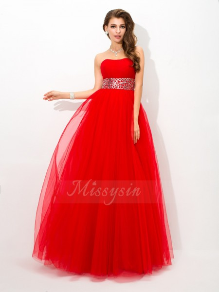 Ball Gown Sleeveless Strapless Beading Floor-Length Net Dresses