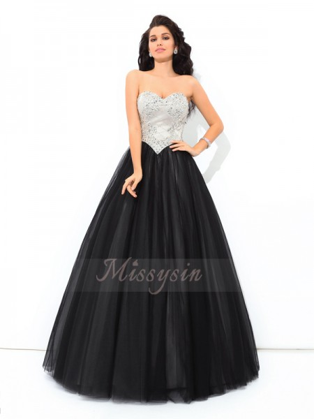 Ball Gown Sleeveless Sweetheart Paillette Floor-Length Net Quinceanera Dresses