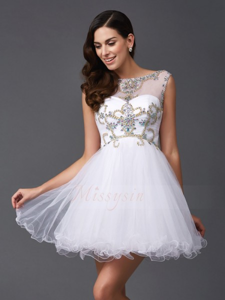 A-Line/Princess Sleeveless Scoop Beading Short/Mini Net Dresses