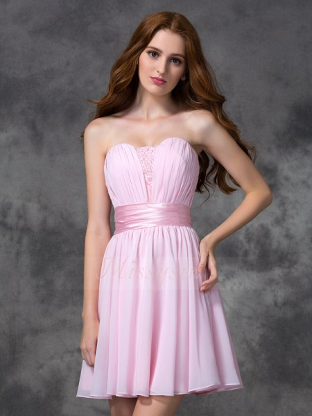 A-line/Princess Sleeveless Sweetheart Ruched Short/Mini Chiffon Dresses