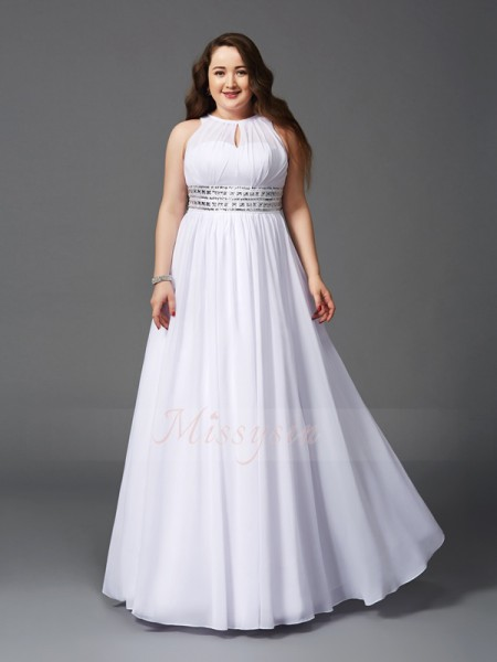 A-Line/Princess Sleeveless Jewel Beading Floor-Length Chiffon Plus Size Dresses