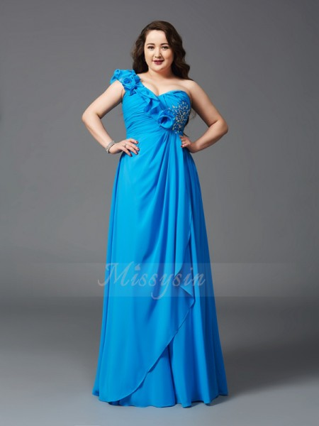 A-Line/Princess Sleeveless One-Shoulder Rhinestone Floor-Length Chiffon Plus Size Dresses