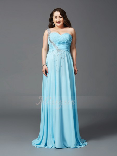 A-Line/Princess Sleeveless One-Shoulder Rhinestone Sweep/Brush Train Chiffon Plus Size Dresses