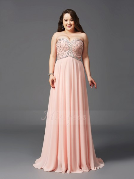 A-Line/Princess Sleeveless Sweetheart Beading Sweep/Brush Train Chiffon Plus Size Dresses