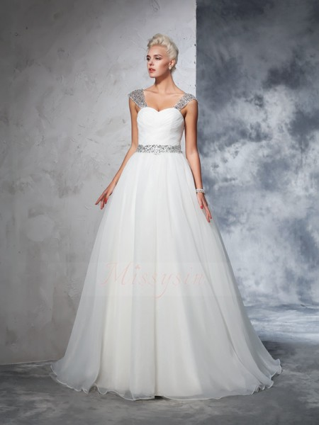 Ball Gown Sleeveless Straps Ruched Chapel Train Net Wedding Dresses