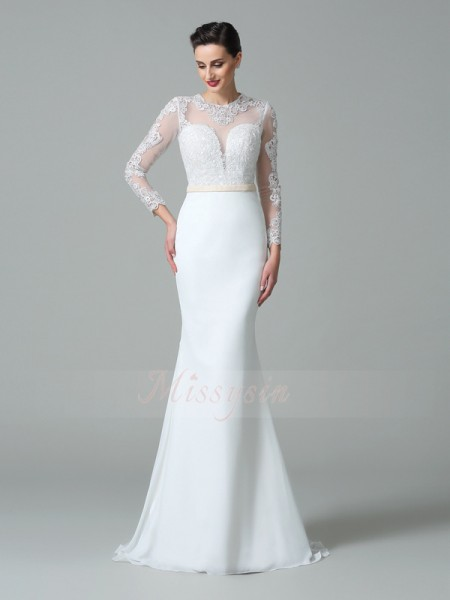 Trumpet/Mermaid Long Sleeves Jewel Sweep/Brush Train Satin Wedding Dresses