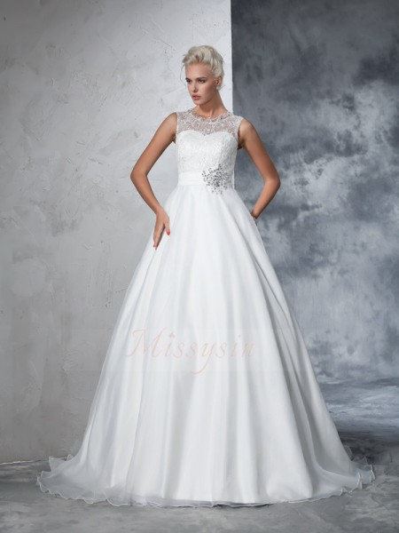 Ball Gown Sleeveless Sheer Neck Chapel Train Net Wedding Dresses