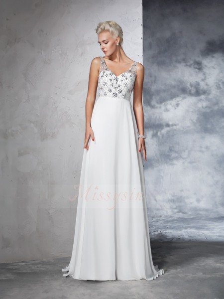 A-Line/Princess Sleeveless V-neck Beading Sweep/Brush Train Chiffon Wedding Dresses