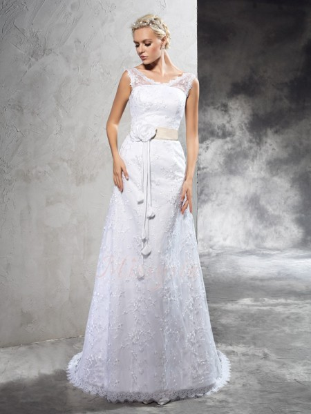 Sheath/Column Sleeveless Sheer Neck Hand-Made Flower Court Train Satin Wedding Dresses