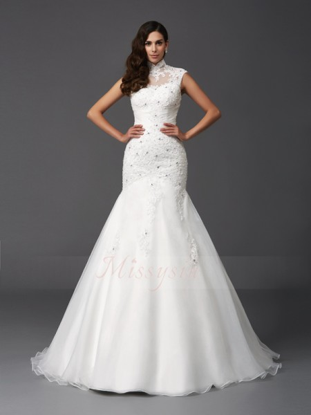 Trumpet/Mermaid Sleeveless High Neck Beading Sweep/Brush Train Organza Wedding Dresses