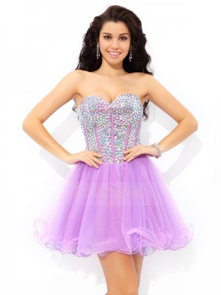 A-Line/Princess Sleeveless Sweetheart Paillette Short/Mini Net Cocktail Dresses