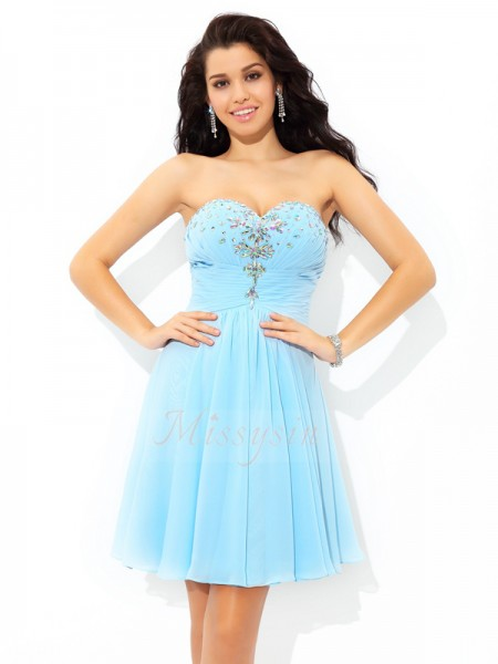 A-Line/Princess Sleeveless Sweetheart Beading Short/Mini Chiffon Cocktail Dresses